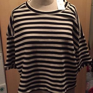 Splendid black cream stripe top